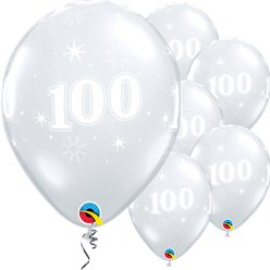 "100th Birthday Sparkle-A-Round Diamond Clear Balloon - 11"" Latex"