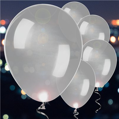 Silver Latex LED Balloons - 11""