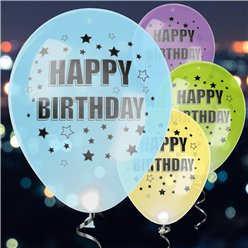 LED Happy Birthday Latex Balloons 11""