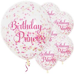 Birthday Princess Confetti Balloons - 12