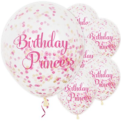 "Birthday Princess Confetti Balloons - 12"" Latex"