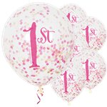 "1st Birthday Pink Confetti Balloons - 12"" Latex"
