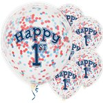 "Happy 1st Birthday Blue Confetti Balloons - 12"" Latex"