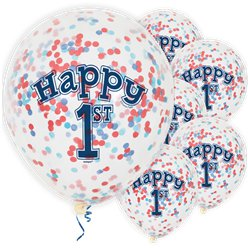 Happy 1st Birthday Blue Confetti Balloons - 12