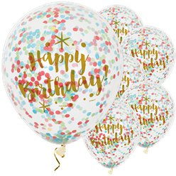 "Happy Birthday Gold Glitz Confetti Balloons - 12"" Latex"