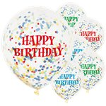"Happy Birthday Bright Confetti Balloons - 12"" Latex"