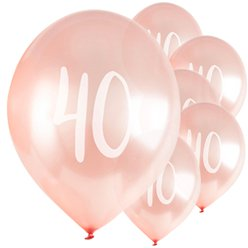 "Rose Gold 40th Milestone Balloons - 12"" Latex"