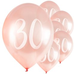 "Rose Gold 30th Milestone Balloons - 12"" Latex"