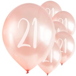 "Rose Gold 21st Milestone Balloons - 12"" Latex"