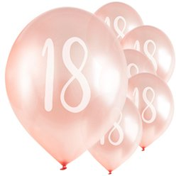 "Rose Gold 18th Milestone Balloons - 12"" Latex"