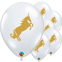 "Golden Unicorn Diamond Clear Latex Balloons - 11"" Latex"