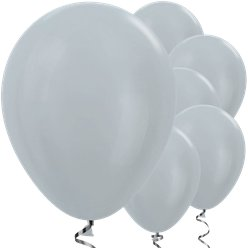 "Satin Silver Balloons - 12"" Latex"
