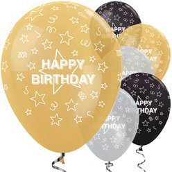 "Happy Birthday Gold Mix Stars - 12"" Latex"