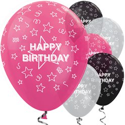 "Happy Birthday Pink Mix Stars - 12"" Latex"