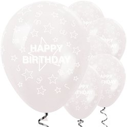 "Happy Birthday Clear Stars Balloons - 12"" Latex"