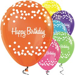 "Happy Birthday Tropical Mix Dots Balloons - 12"" Latex"