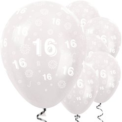 "16th Birthday Clear Flowers Balloons - 12"" Latex"