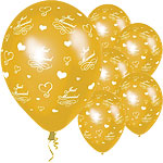 "Just Married Gold Wedding Balloons - 11"" Latex"
