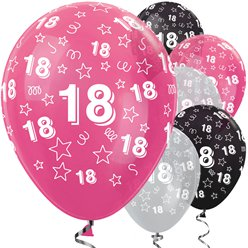 "18th Birthday Pink Mix Stars Balloons - 12"" Latex"
