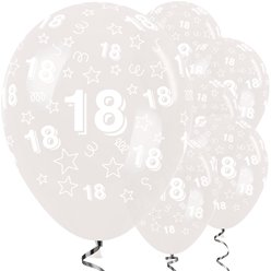 "18th Birthday Clear Stars Balloons - 12"" Latex"