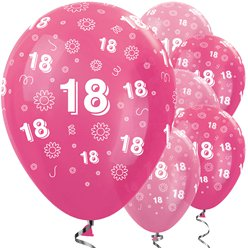 "18th Birthday Pink Mix Flowers Balloons - 12"" Latex"
