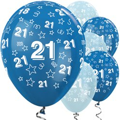 21st Birthday Blue Mix Balloons - 12