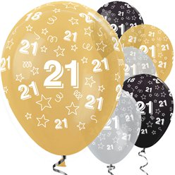 "21st Birthday Gold Mix Stars Balloons -  12"" Latex"
