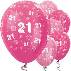 21st Birthday Pink Mix Flowers Balloons - 12