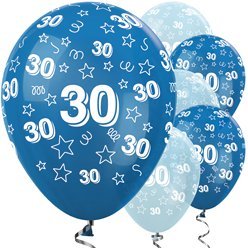 "30th Birthday Blue Mix Stars Balloons - 12"" Latex"