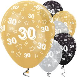 "30th Birthday Gold Mix Stars Balloons - 12"" Latex"