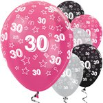 "30th Birthday Pink Mix Stars Balloons - 12"" Latex"