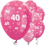 "40th Birthday Pink Mix Flowers Balloons - 12"" Latex"