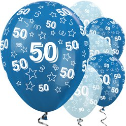 "50th Birthday Blue Mix Stars Balloons - 12"" Latex"