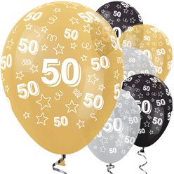 "50th Birthday Gold Mix Stars Balloons - 12"" Latex"