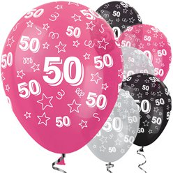 "50th Birthday Pink Mix Stars Balloons - 12"" Latex"