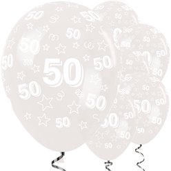 "50th Birthday Clear Stars Balloons - 12"" Latex"