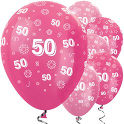 "50th Birthday Pink Mix Flowers Balloon - 12"" Latex"