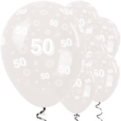 "50th Birthday Clear Flowers Balloons - 12"" Latex"