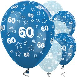 "60th Birthday Blue Mix Stars Balloons - 12"" Latex"