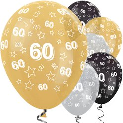 "60th Birthday Gold Mix Stars Balloons - 12"" Latex"