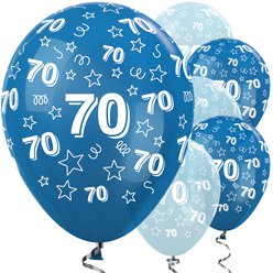 "70th Birthday Blue Mix Stars Balloons - 12"" Latex"