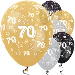 "70th Birthday Gold Mix Stars Balloons - 12"" Latex"