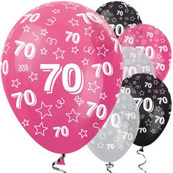 "70th Birthday Pink Mix Stars Balloons - 12"" Latex"