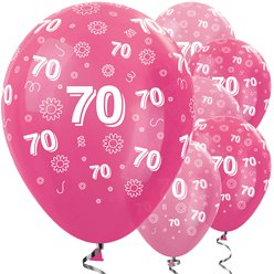 "70th Birthday Pink Mix Flowers Balloons - 12"" Latex"