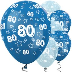 "80th Birthday Blue Mix Stars Balloons - 12"" Latex"