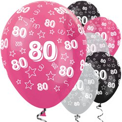 "80th Birthday Pink Mix Stars Balloons - 12"" Latex"