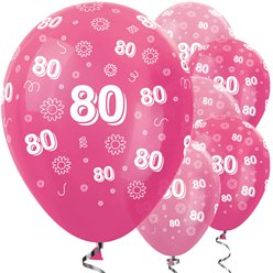 "80th Pink Mix Flowers Balloons - 12"" Latex"