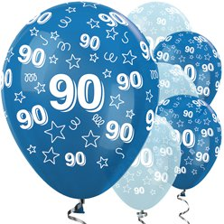 "90th Birthday Blue Mix Stars Balloons - 12"" Latex"