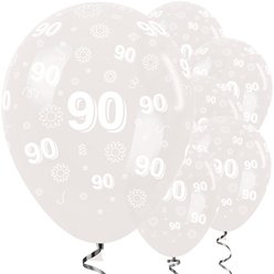 "90th Birthday Clear Flowers Balloons - 12"" Latex"