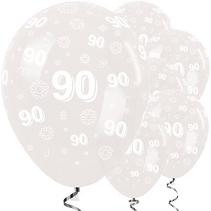 90th Birthday Clear Flowers Balloons - 12